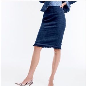 J. Crew Tweed Pencil Skirt Navy Blue Size 2P